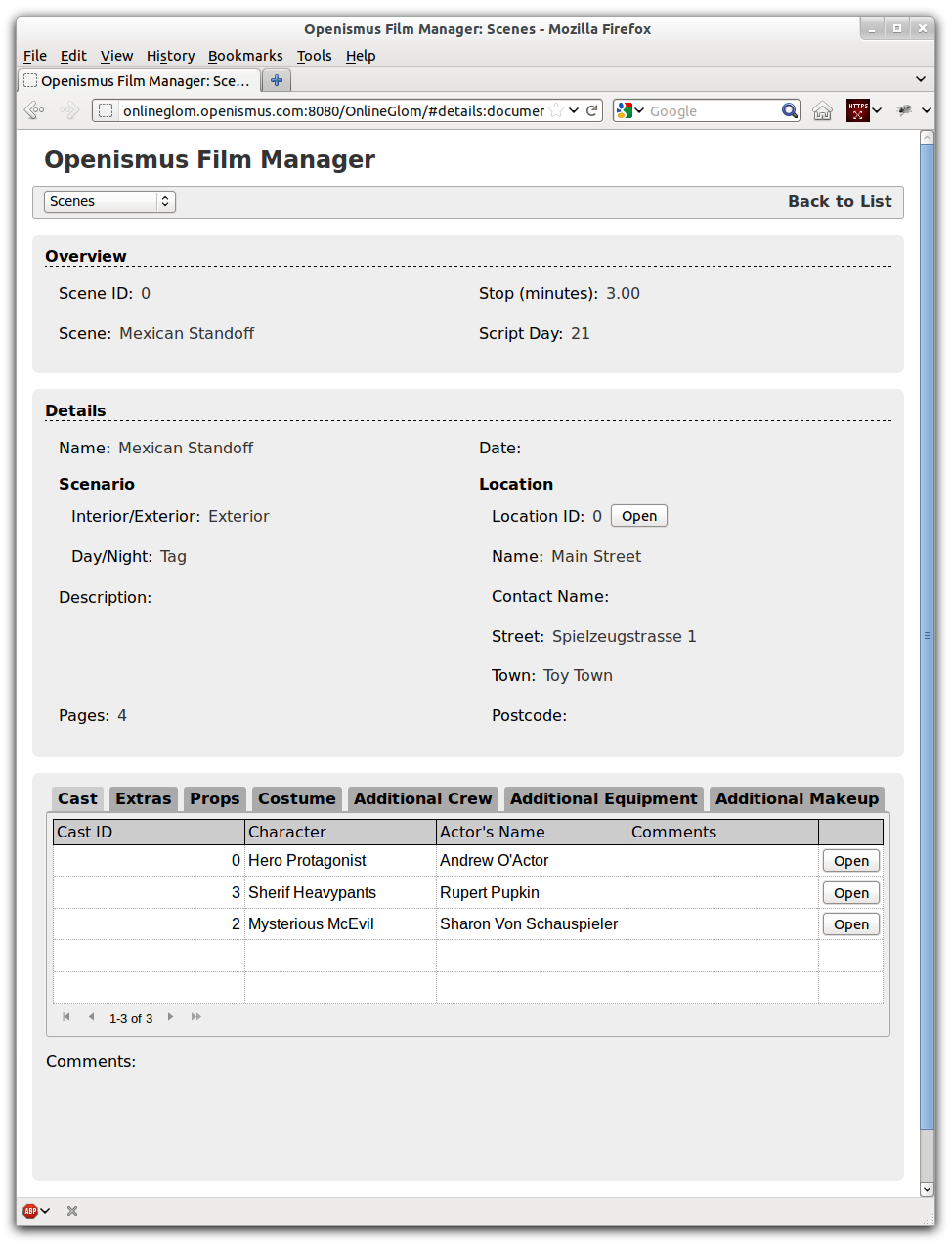 The Online Glom Details view page.