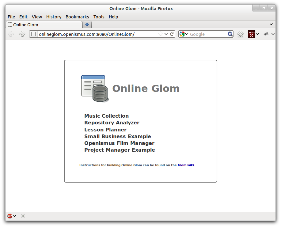 The Online Glom Document selection page.